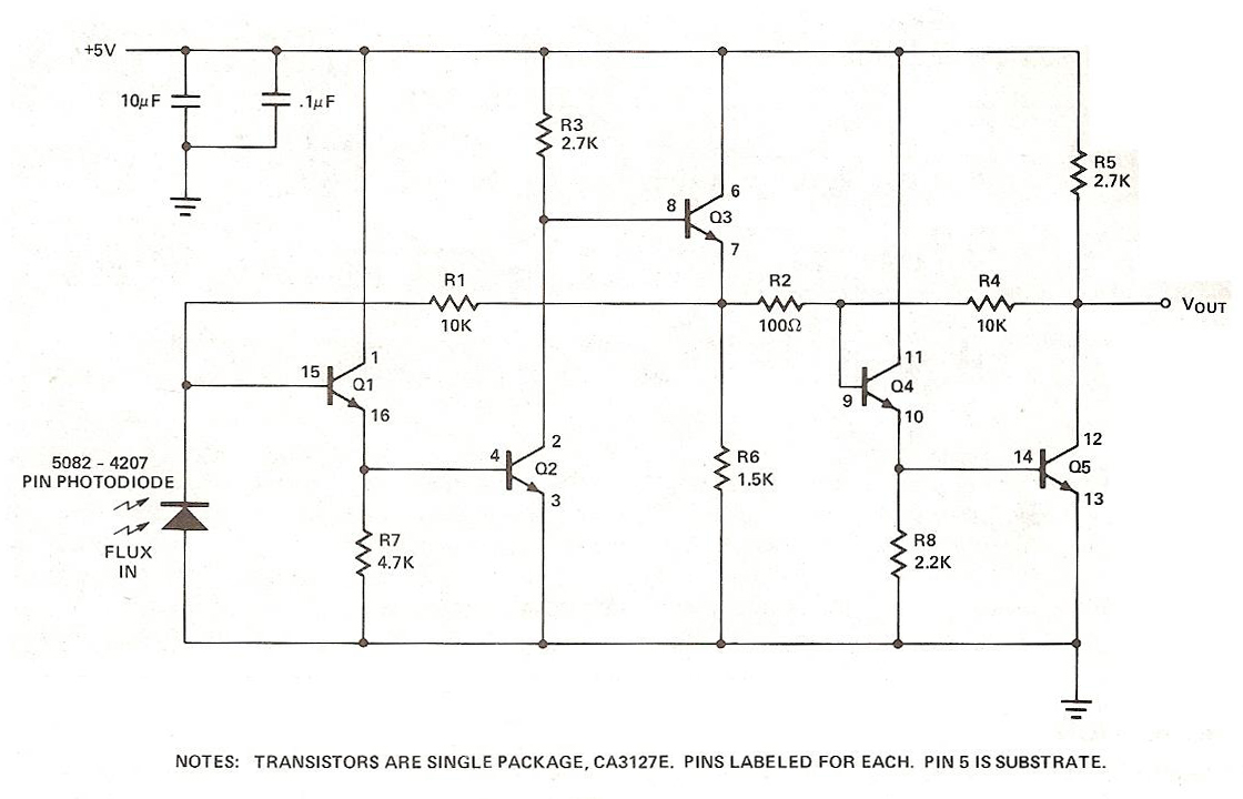 transistor photo diode amplifier